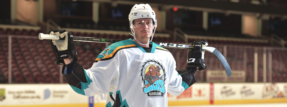 Cleveland Monsters foward, Paul Bittner, dons the Cleveland Lumberjacks throwback jersey.