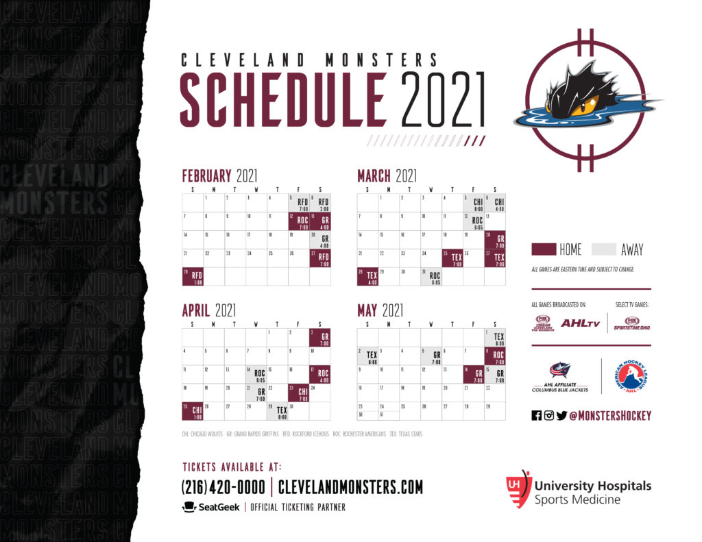 2020-21 Cleveland Monsters Schedule